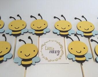 Handmade Cupcake Toppers - Bee Theme x 12