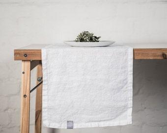 Linen table runner. White handmade linen table runner.