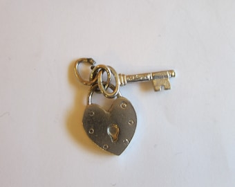 Sterling silver lock and key charm, Heark lock and key, charms for a charm bracelet