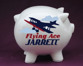 Vintage Plane Personalized Piggy Bank with Vinyl Decal. Piggy banks for boys, custom piggy bank, baby boy gifts, birth stats gifts, baby boy