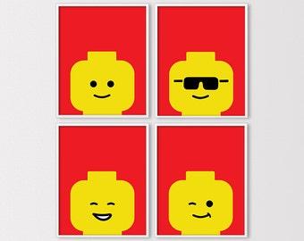 Lego Wall Art, Lego Birthday Party Decor, Lego Prints, Lego Printables, Minimal Lego Faces, Lego Nursery Art, Instant Download