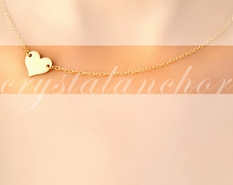 14K Pure Solid Yellow Gold Side Heart Chain Necklace 16 inches