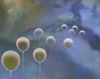 Greeting card, thank you card, art card, note card, blank greeting card, blank card, theme of clouds and balloons + charity donation