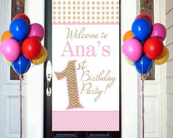 Twinkle Litte Star Party Birthday Door Banner  ~ Personalize Birthday Girl - First Birthday Party Banner