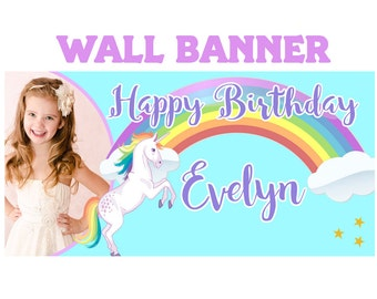 Rainbow Unicorn Large Banner ~ PersonalizedParty Banners - Photo Birthday Banner, Unicorn Birthday Banner, Personalized Banner