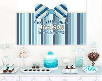 First Birthday Gentleman Personalized Party Backdrop - Birthday Cake Table Backdrop- Little Man Baby Shower Photo Backdrop, Bow Tie Backdrop