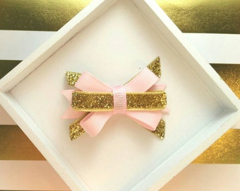 Pink Gold bow Glitter Sparkle Itty Bitty bow, Royal Princess, 1st First Sparkle birthday bow photo, Baby bow, Pink Gold Party, Vintage Tea