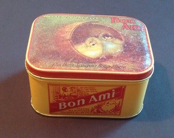 Vintage Tin Bon Ami Cleaner Kitchen Decor Country Shabby Chic Metal Container