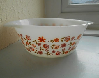 "Vintage Retro 1970s Arcopal Scania Floral Flower Pattern Casserole Serving Dish Bowl  (8"" Inside Diameter)"