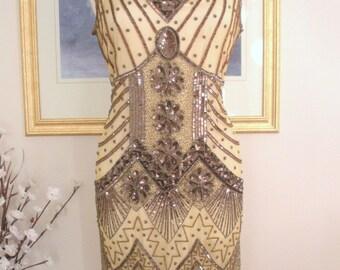 1920s Bronze Beaded STARLIGHT Flapper Dress-S,m,l,xl or Plus sizes