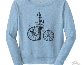 Women's Bicycle Bone Shaker Raglan - S M L Ladies - American Apparel Tri Blend Shirt, Bicycle Sweatshirt, Cycling Shirt, Bike - 8 Colors