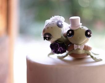 Turtle Wedding Cake Topper - Unique Wedding Cake Topper - Personalized Wedding Cake Topper - Animal Cake Topper