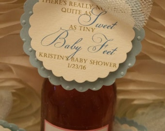 Set of 6 Theres Nothing Quite As Sweet As Tiny Baby Feet Mini Wine Bottle Tag Baby Shower Favor Champagne Tag Champagne Label
