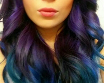 Balayage Dip Dye 8A Remy WowHuman Hair Extensions Double Weft Clip Ins Ombre Balayage Hot Purple into Blue Green Turquoise