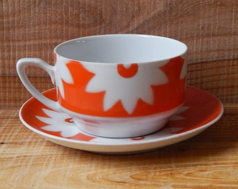 Riga Porcelain Factory Coffee Tea Cup and Saucer Soviet Design Ceramic Tableware Tea Cups and Saucers From Russia USSR era 1980 s. RPR
