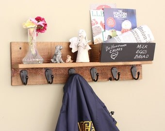 Coat Rack - Key Rack Shelf with Mail Holder Organizer and Chalkboard- Wall Mounted