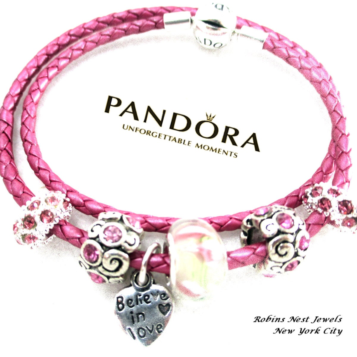 authentic pandora leather bracelet new honeysuckle pink. Black Bedroom Furniture Sets. Home Design Ideas