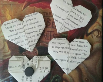 Set of 4 Harry Potter magnets..book page..origami..refrigerator..upcycle..gift..Christmas..birthday..shower..house warming..stocking stuffer