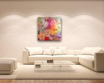 "Large multi - coloured mixed media art canvas : Migrate"" 90cm x 90cm"