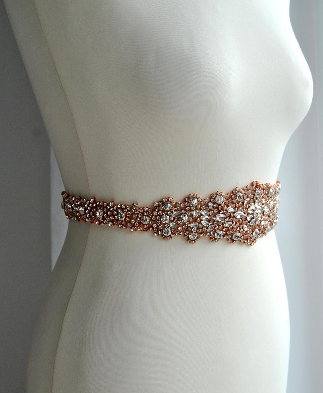 26 40 rose gold bridal sash wedding dress sash belt rose for Gold belt for wedding dress