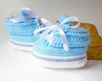 Blue Baby Sneakers, Inspired Jordan Reveal, Knitted Baby Clothes, Newborn Boy Soft Booties, Boutique Baby Booties, Crocheted baby booties