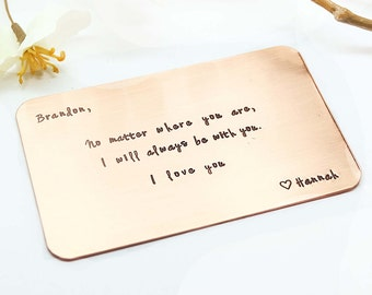 Copper Wallet Insert Card - Customized personal messages - Husband, Boyfriend Gift 7 Year- Personalized Anniversary Gift, Father's Day