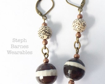 Lotus seed and faceted banded agate earrings in bronze
