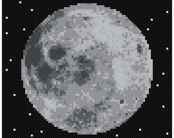 PDF Cross Stitch pattern - 0063.Moon (gray) - INSTANT DOWNLOAD