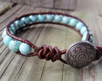 Turquoise Beaded Leather Single Wrap Bracelet   Western~Cowgirl~Gypsy~Boho Style