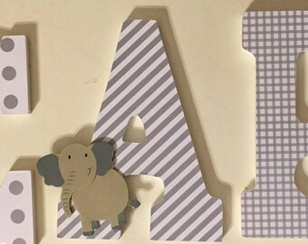 Baby Nursery Letters, wood letters with elephant, gray and white wall letters, decorative letters for Carson, personalized baby letters