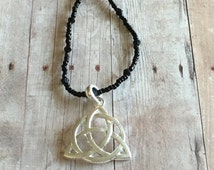 Celtic Necklace - Triquetra Necklace - Triquetra Pendant Necklace - Silver Celtic Knot Pendant - Seed Bead Necklace - Black Necklace