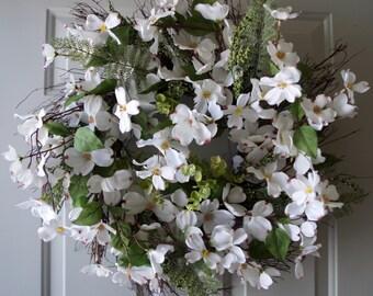 Spring Wreath, White Dogwood Wreath, Rustic Wreath, White Flowers Spring Blossom Bouquet, Door Wreath