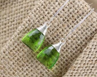 Peridot Green Quartz & Sterling Silver Earrings. Long Drop Earrings. Wire Wrapped Gemstone Earrings. Elongated Ear Wire Earrings. Jewelry