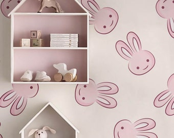 Wallpaper Selfadhesive vinyl removable wallpaper - PEEL and STICK pink bunny Nursery wallpaper  - OLB_052