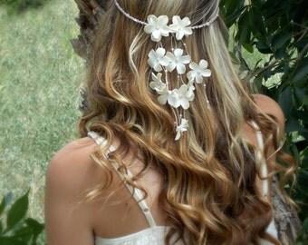 Flower Headband, Floral Hair Garland, Hair Flowers, Bride Headband, Flower Crown, Flower Hair Accessory, Wedding Headband, Bridal Headband