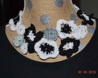 Crocheted thread flower necklace, adjustable, black, white, and silver