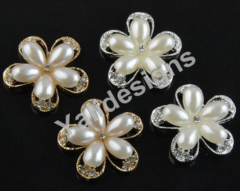Set of 5pcs 25mm Crystal Pearl Flower Brooch- Children Headbands or Hair Clips-YTB63