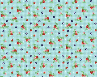 Riley Blake fabric Vintage Strawberries in aqua from Vintage Market line of Riley Blake Designs strawberry print fabric in teal aqua
