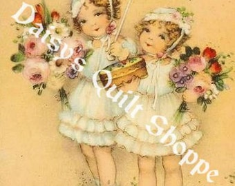 Fabric Art Quilt Block -  Whimsical Girls - 13-047 FREE Shipping