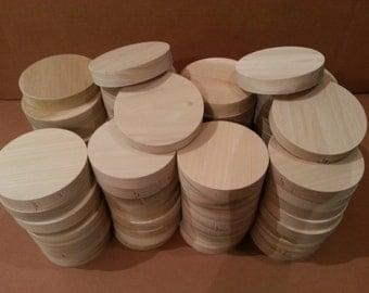 4 Inch Wood Circles, 3/4 Inch Thick Solid Wood Circles, 80 Wood Circles