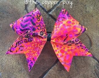 Wild neon animal print cheer bow