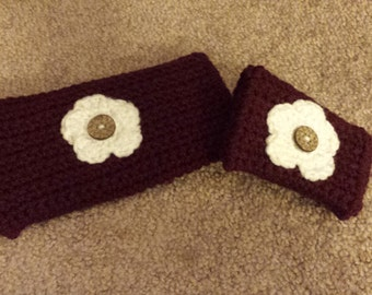 Crochet Wallet/Makeup Bag with Matching Coin Purse