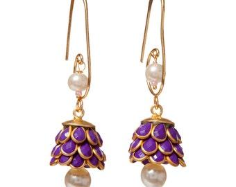 Artisan Made Floral Cluster Drop Paachi Earrings - Purple