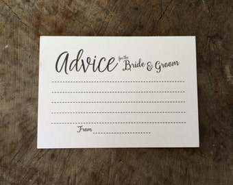 Wedding advice cards- advice for the bride and groom x50