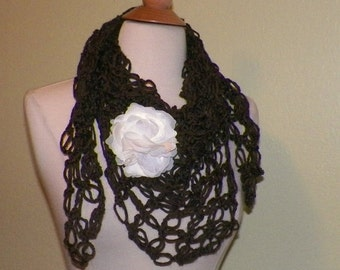 On Sale- Brown Earth Tone Shawl Triangle Shawl Scarf Irish Boho Crochet Lace Bridal Wrap Scarf
