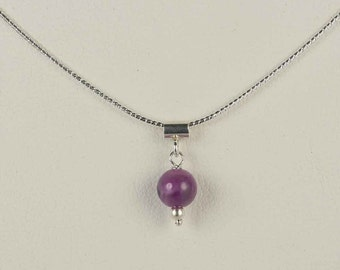Sterling Silver Amethyst Beads Necklace