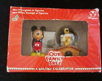 Mini and Pluto Disney Store Set -  in original box.  Snowglobe & Mini figurine, holiday decorative gift set. A Holiday Celebration To Enjoy!