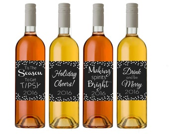 Wine Labels - Custom Wine Labels - Holiday Wine Labels - Gift For Wine Lover - Personalized Wine Bottle Labels - Wine Accessories Gift - WL8