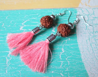 Earrings with Rudraskha beads and tassels * hippie * boho * Gipsy style *.