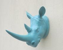20PERCENT off Rhino head, faux Rhino head, animal head, faux taxidermy, wall decor, rhino head wall hanging, rhino head decor, African